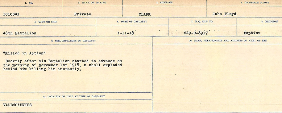 Circumstances of Death Registers– Source: Library and Archives Canada.  CIRCUMSTANCES OF DEATH REGISTERS, FIRST WORLD WAR Surnames:  CHILD TO CLAYTON.  Microform Sequence 20; Volume Number 31829_B016729. Reference RG150, 1992-93/314, 164.  Page 625 of 1068.