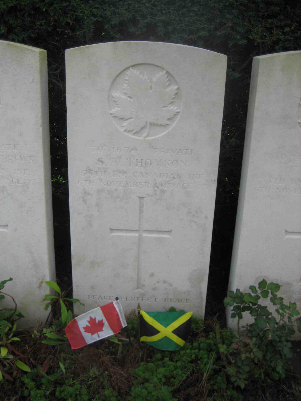 Grave Marker– Born in Jamaica. Conscripted in Canada. Died in France 5 days before end of war. Younger brother died in Toronto of the flu a couple of months later and his father a week later.
