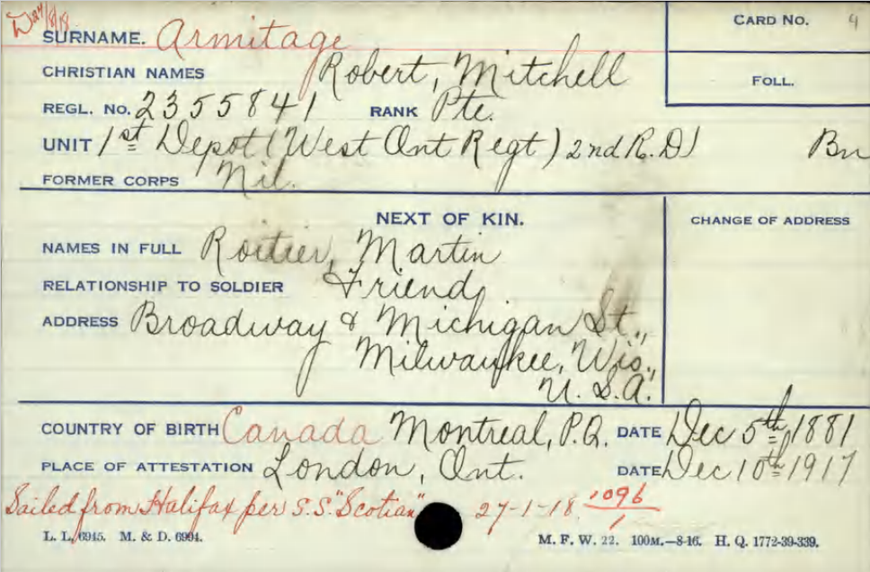 """Circumstances of Death Registers– Card showing Private Armitage """"next of kin"""" as he friend Martin Roitier. He was later to learn his mother was alive and wrote the Canadian Paymaster to this effect.  Contributed by E. Edwards, 18thbattalioncef.wordpress.com"""