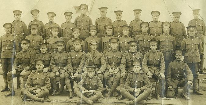 Group Photo– NB regiment, Number 9 platoon, 132nd battalion overseas, prior to heading overseas. Taken at Arnprior. John Frederick Bastian is in the second row, second from the right. His brother Charles Erwin Bastian, is in the 3rd row, 3rd from left.   John was killed Aug 28, 1918 in the Battle of Scarpe.  Charles was injured in action and disabled for life.  Charles passed away in Bathurst, NB, in 1942.