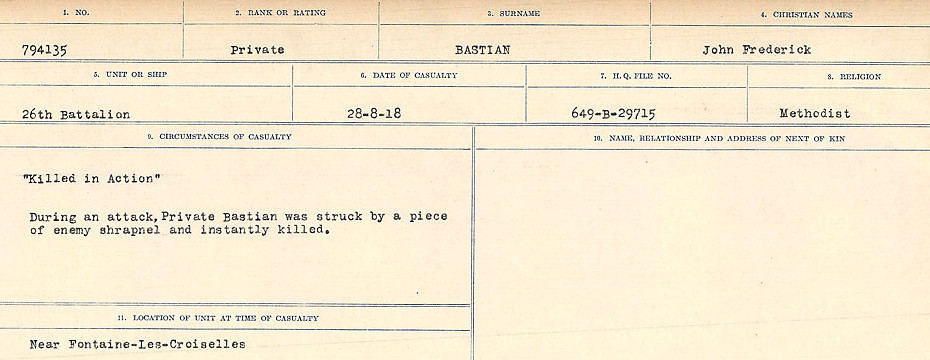 Circumstances of Death– Source: Library and Archives Canada.  CIRCUMSTANCES OF DEATH REGISTERS, FIRST WORLD WAR Surnames:  Bark to Bazinet. Mircoform Sequence 6; Volume Number 31829_B016716. Reference RG150, 1992-93/314, 150.  Page 743 of 1058.