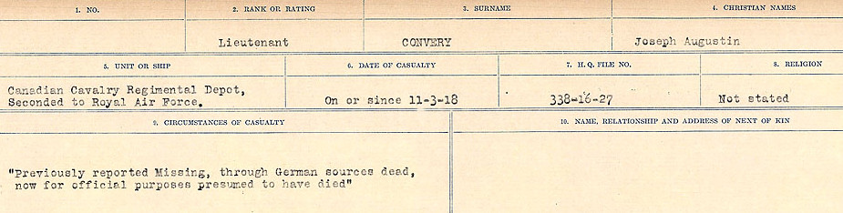Circumstances of Death Registers– Source: Library and Archives Canada.  CIRCUMSTANCES OF DEATH REGISTERS, FIRST WORLD WAR Surnames:  CONNON TO CORBETT.  Microform Sequence 22; Volume Number 31829_B016731. Reference RG150, 1992-93/314, 166.  Page 117 of 818