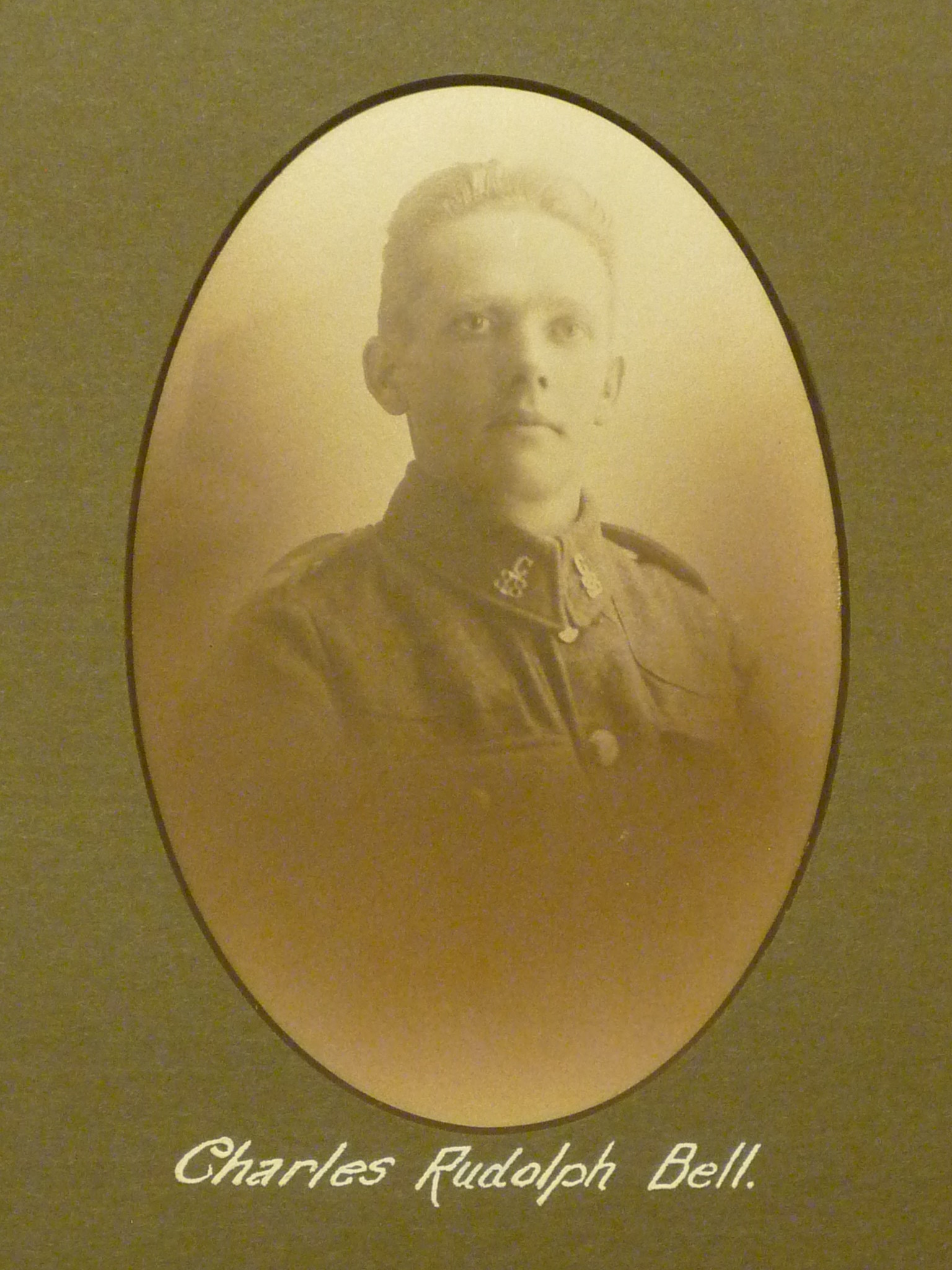Photo of Charles Bell– This image comes from a large framed tribute in St. John's Presbyterian Church, Broadview Avenue, Toronto. Ontario Canada.  He and thirty-two other men are remembered here for their service in WWI.