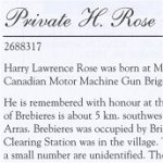 Memorial Page– Harry Lawrence Rose is honoured on page 22 of the Merrickville Remembers booklet, published in January 2003.