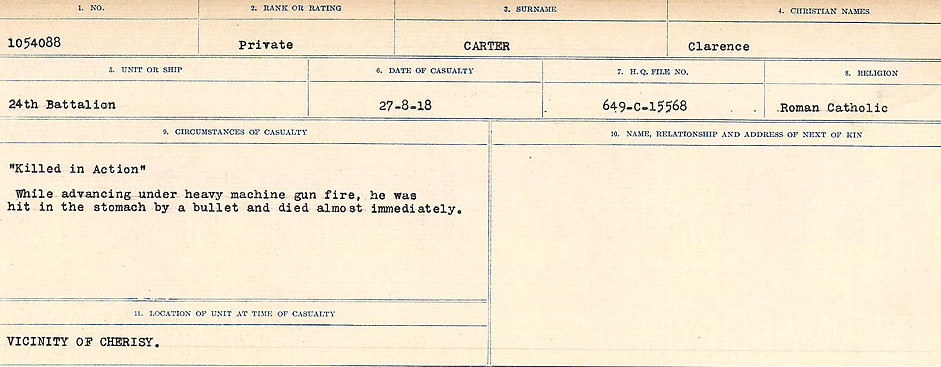 Circumstances of Death Registers– Source: Library and Archives Canada.  CIRCUMSTANCES OF DEATH REGISTERS, FIRST WORLD WAR Surnames:  Canavan to Caswell. Microform Sequence 18; Volume Number 31829_B016727. Reference RG150, 1992-93/314, 162.  Page 657 of 1004.