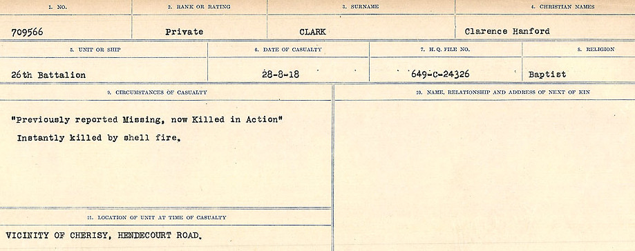 Circumstances of Death Registers– Source: Library and Archives Canada.  CIRCUMSTANCES OF DEATH REGISTERS, FIRST WORLD WAR Surnames:  CHILD TO CLAYTON.  Microform Sequence 20; Volume Number 31829_B016729. Reference RG150, 1992-93/314, 164.  Page of 503 of 1068.