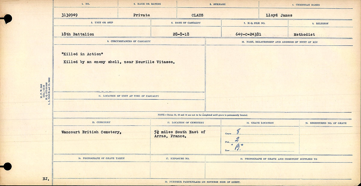 Feuille d'engagement – Title:Circumstances of Death Registers, First World War Mikan record:46246 Volume Number:31829_B016729 Page:1 Number of pages:1068 Contributed by E.Edwards www.18thbattalioncef.wordpress.com