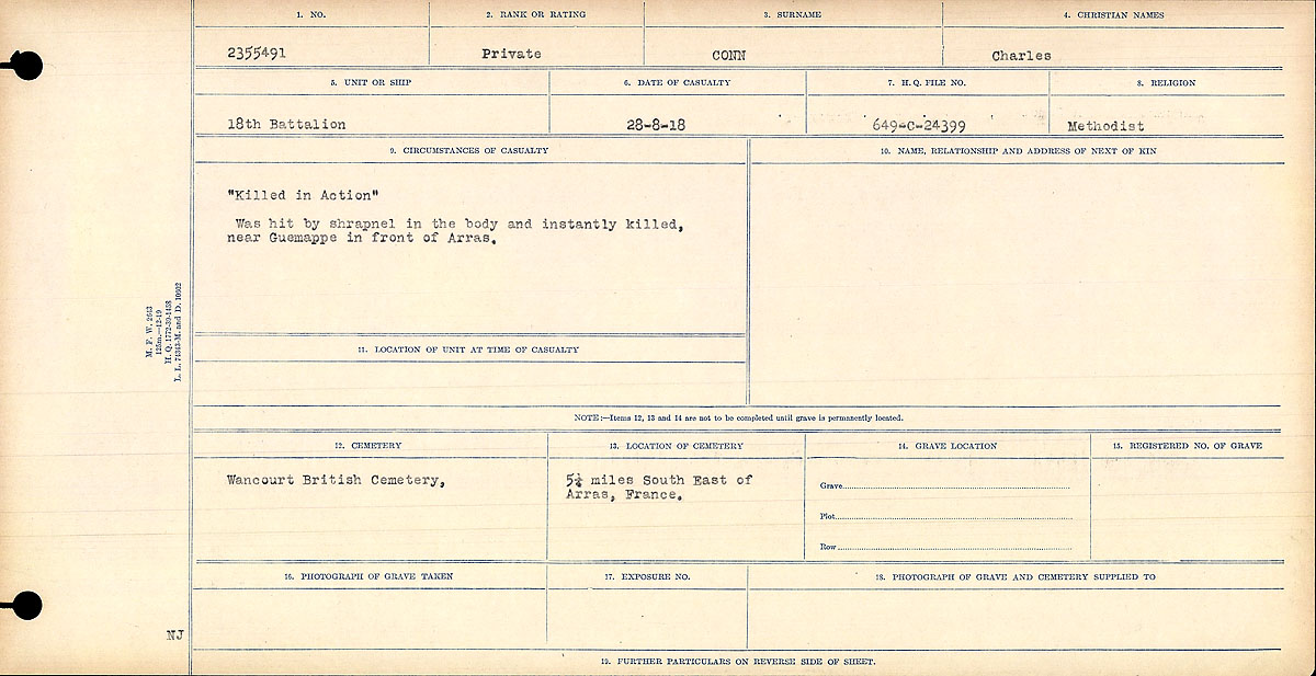 """Circumstances of Death Registers– """"Killed in Action"""" Was hit by shrapnel in the body and instantly killed, near Guemappe in front of Arras.  Contributed by E.Edwards www.18thbattalioncef.wordpress.com"""