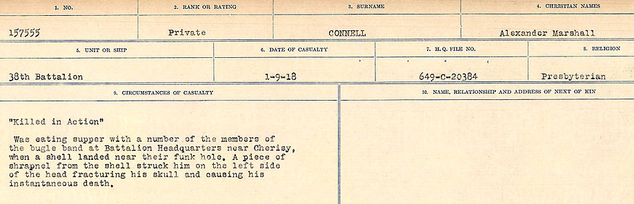 Circumstances of Death Registers– Source: Library and Archives Canada.  CIRCUMSTANCES OF DEATH REGISTERS, FIRST WORLD WAR Surnames:  CLEAL TO CONNOLLY.  Microform Sequence 21; Volume Number 31829_B016730. Reference RG150, 1992-93/314, 165.  Page 1289 of 1384.