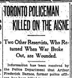 Newspaper Clipping– From the Toronto Star for 23 November 1914.