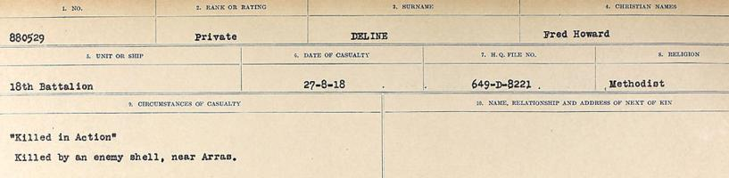 Circumstances of death registers– Source: Library and Archives Canada. CIRCUMSTANCES OF DEATH REGISTERS, FIRST WORLD WAR. Surnames: Davy to Detro. Microform Sequence 27; Volume Number 31829_B016736. Reference RG150, 1992-93/314, 171. Page 537 of 1036.