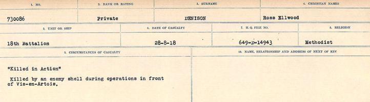 Circumstances of death registers– Source: Library and Archives Canada. CIRCUMSTANCES OF DEATH REGISTERS, FIRST WORLD WAR. Surnames: Davy to Detro. Microform Sequence 27; Volume Number 31829_B016736. Reference RG150, 1992-93/314, 171. Page 705 of 1036.