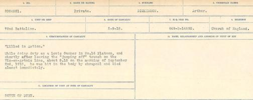 Circumstances of death registers– Source: Library and Archives Canada. CIRCUMSTANCES OF DEATH REGISTERS, FIRST WORLD WAR. Surnames: Deuel to Domoney. Microform Sequence 28; Volume Number 31829_B016737. Reference RG150, 1992-93/314, 172. Page 325 of 1084.