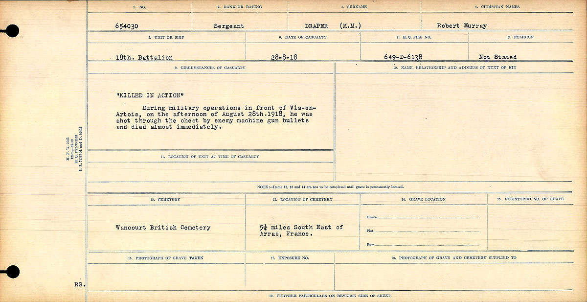 "Circumstances of Death Registers– ""Killed in Action"" During military operations in front of Vis-en-Artois, on the afternoon of August 28th, 1918, he was shot through the chest by enemy machine gun bullets and died almost immediately.