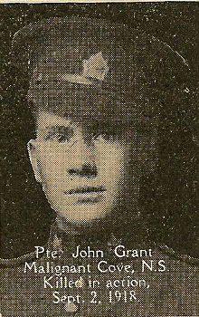 Photo of John Grant– From the book, Catholics of the Diocese of Antigonish, Nova Scotia and the Great War 1914- 1919.  Submitted for the project, Operation: PIcture Me