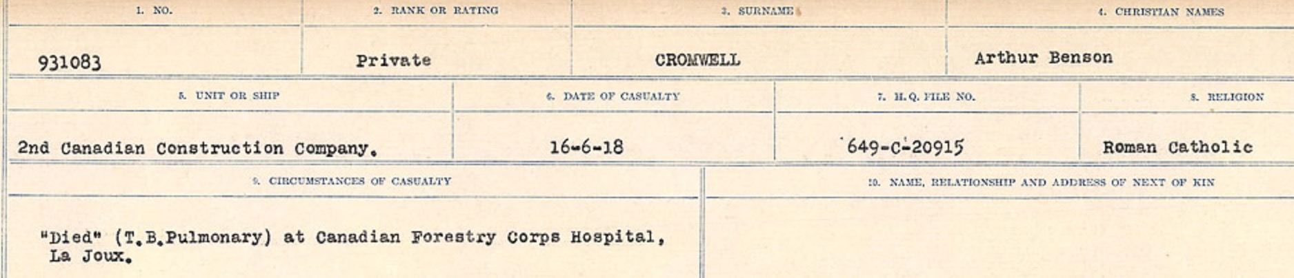 Circumstances of death registers– Source: Library and Archives Canada. CIRCUMSTANCES OF DEATH REGISTERS, FIRST WORLD WAR Surnames: CRABB TO CROSSLAND Microform Sequence 24; Volume Number 31829_B016733. Reference RG150, 1992-93/314, 168. Page 649 of 788.