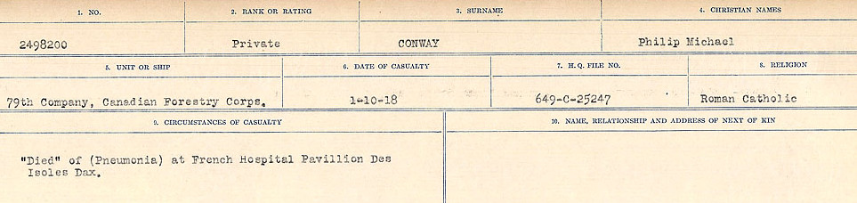 Circumstances of Death– Source: Library and Archives Canada.  CIRCUMSTANCES OF DEATH REGISTERS, FIRST WORLD WAR Surnames:  CONNON TO CORBETT.  Microform Sequence 22; Volume Number 31829_B016731. Reference RG150, 1992-93/314, 166.  Page 149 of 818.