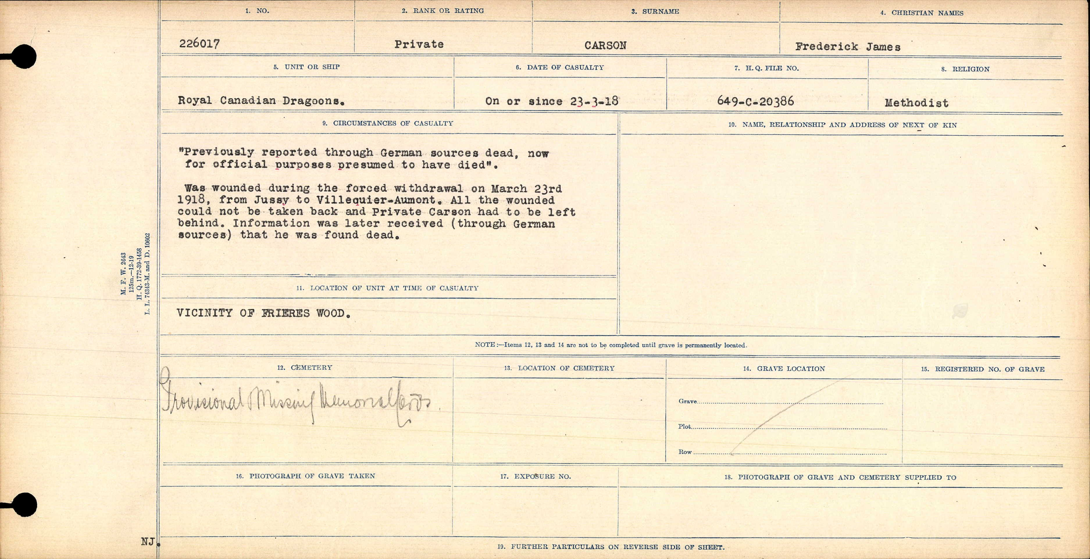 Circumstances of Death Registers– Source: Library and Archives Canada.  CIRCUMSTANCES OF DEATH REGISTERS, FIRST WORLD WAR Surnames:  Canavan to Caswell. Microform Sequence 18; Volume Number 31829_B016727. Reference RG150, 1992-93/314, 162.  Page 587 of 1004.