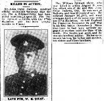 Newspaper clipping– Orillia Times, 12 Sep 1918 and 23 Sep 1918
