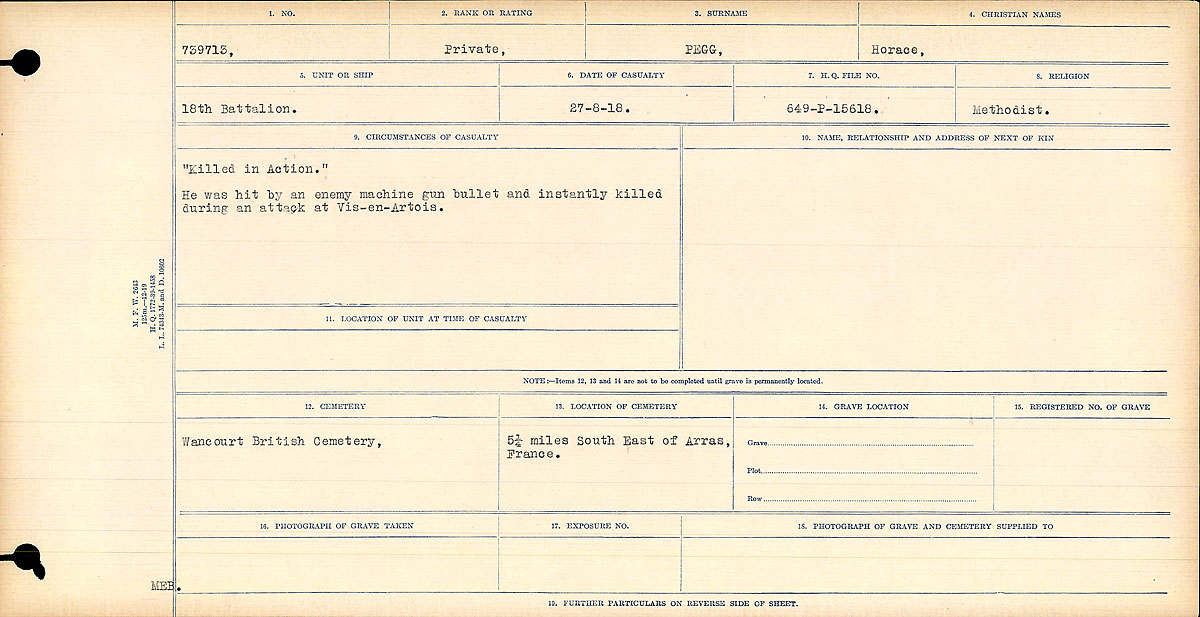 """Circumstances of Death Registers– """"Killed in Action."""" He was hit by an enemy machine gun bullet and instantly killed during an attack on Vis-en-Artois."""