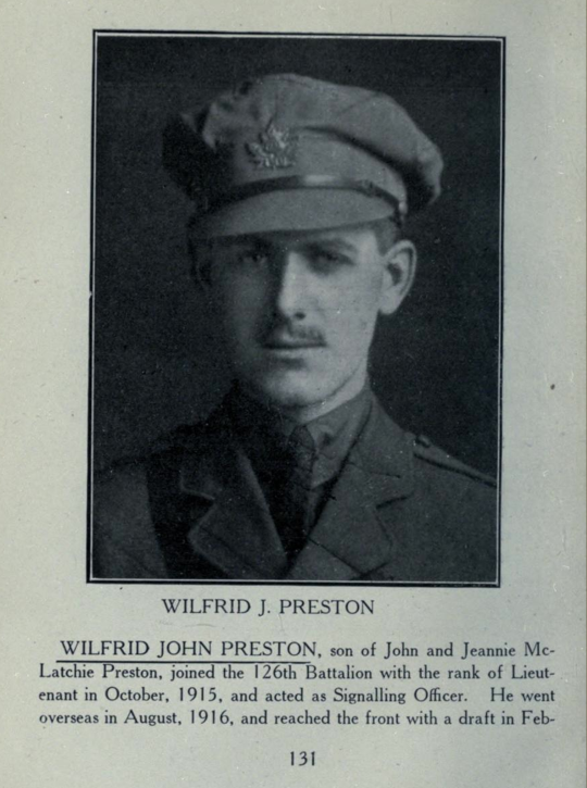 Photo of WILFRED JOHN PRESTON– In memory of the students from Parkdale Collegiate Institute (Toronto, Ontario), who went to war and did not come home. Submitted for the project, Operation: Picture Me