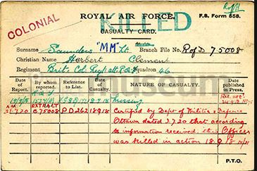 Casualty Card– Lieutenant Herbert Clement Saunders, M.M. was serving with the 46th Squadron of the Royal Air Force when he was killed in action at approximately 11:50 am on 18 September 1918. He was on an Offensive Patrol east of Hesbecourt, France when he was seen shot down in flames at 5,000 feet, during aerial combat with the enemy. He was piloting a single seater Sopwith Camel D9405. Records indicate that he was shot down by German Lt. S. Garsztka of Ja31.