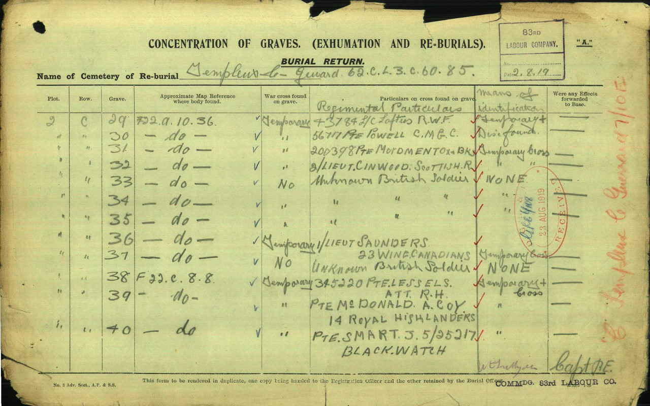 Burial Document– Lieutenant Herbert Clement Saunders, M.M. is the sole Canadian buried in the Templeux-Le-Guerard British Cemetery located at 62c.L.3.c.60.85 (GPS: 49.9631, 3.1575). His remains were exhumed from a battlefield burial site at 62c.F.22.a.10.36 (GPS: 49.9817, 3.1666.) by the 83rd Labour Company on or about 2 August 1919. He is buried in Plot 2 Row C Grave 36.