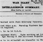War Diary– War Diary for No. 15 Canadian General Hospital (Duchess of Connaught) Taplow, for December 1918, page 1, recording the burial of Ainslie St.Clair Dagg with full military honours.