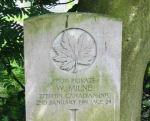 Grave Marker– Grave of Pt. WILLIAM MILNE, Buxton Cemetery