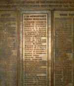 Central Methodist Memorial Tablet– Detail of World War One Memorial Tablet at Central Methodist (United) Church in Calgary. There are 204 names in total listed. The central section lists 36 names on the Roll of Honour while the two outside sections list the men who served and survived the war.