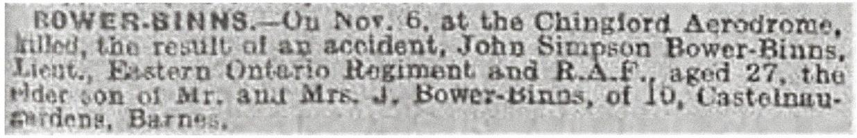 Newspaper clipping– From the Daily Telegraph of November 9, 1918. Image taken from web address of https://www.telegraph.co.uk/news/ww1-archive/12215629/Daily-Telegraph-November-9-1918.html