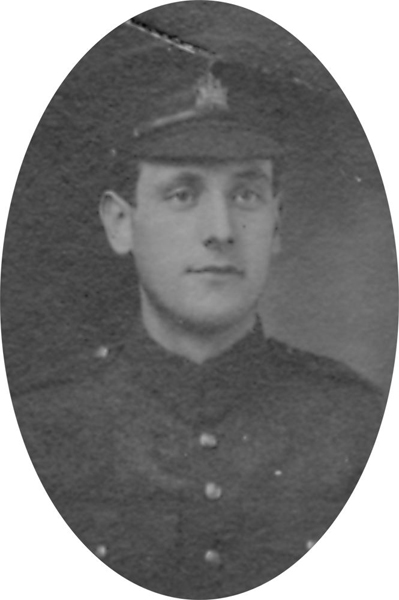 Photo of CHARLES WILSON– From a collage photo layout of members of A Company and the bugle band of the 157th Canadian Infantry Battalion.