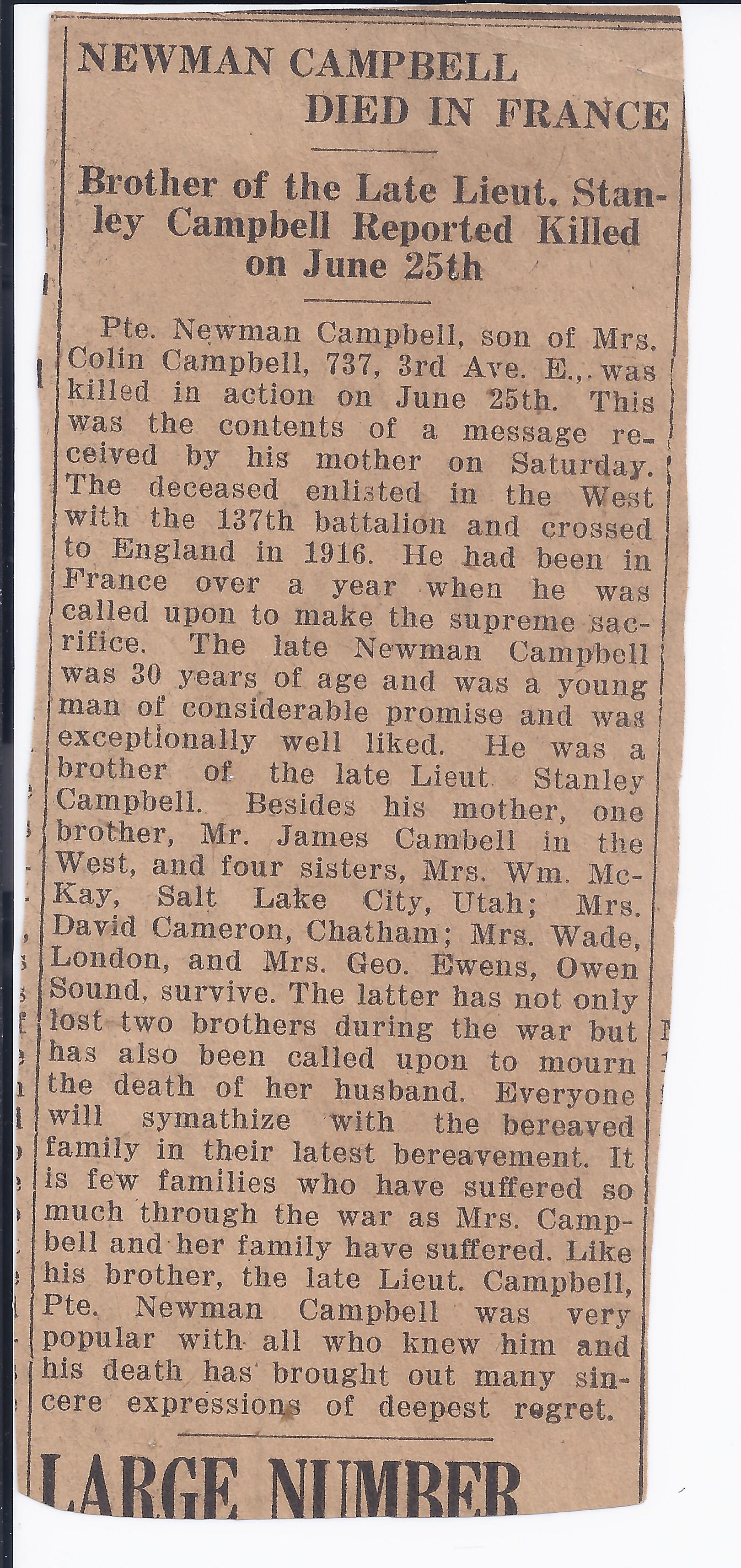 Newspaper Clipping– Newman Campbell death notice in Owen Sound newspaper.