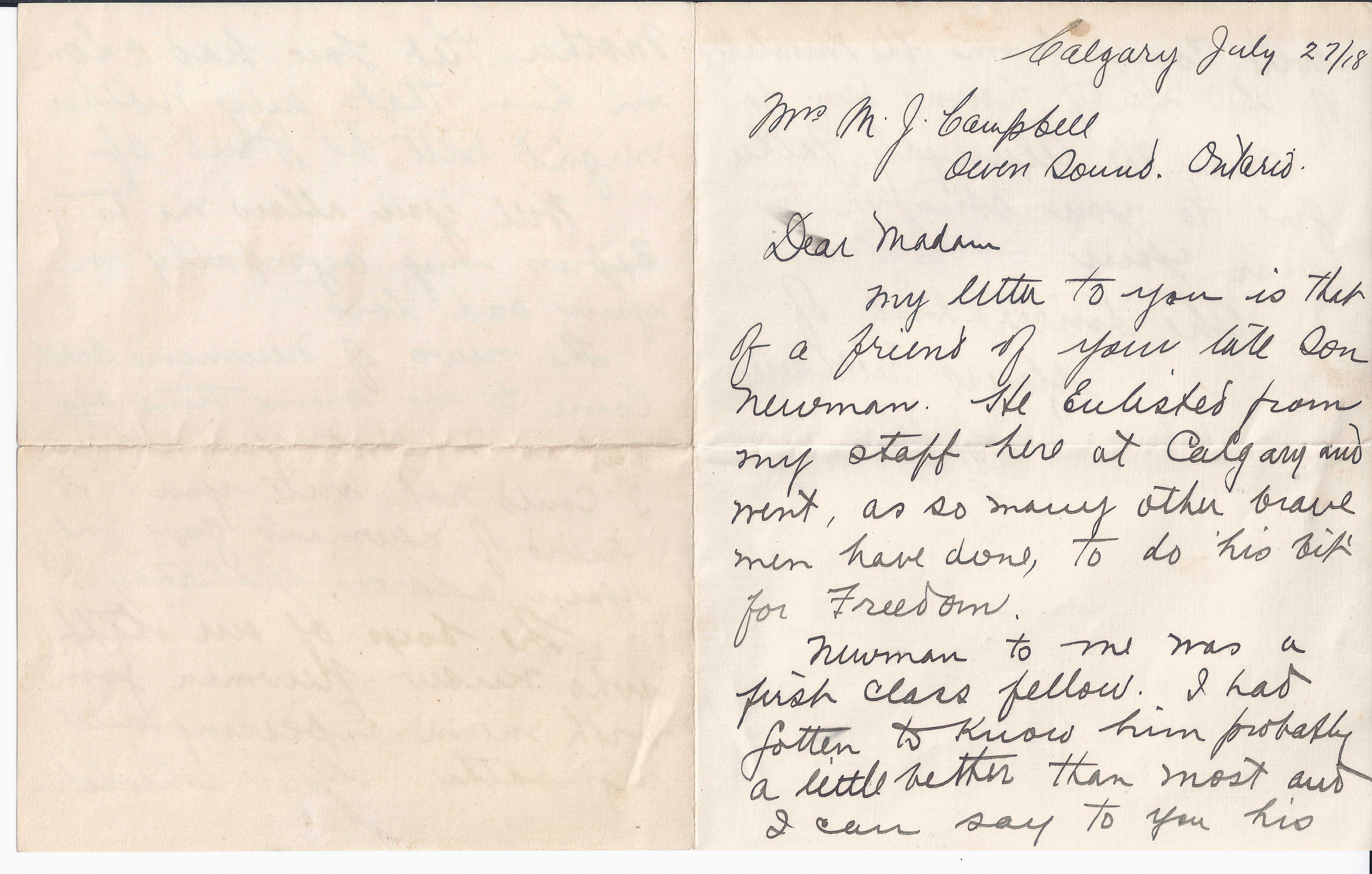 Letter– Letter from military regarding Newman Campbell's death page 1.