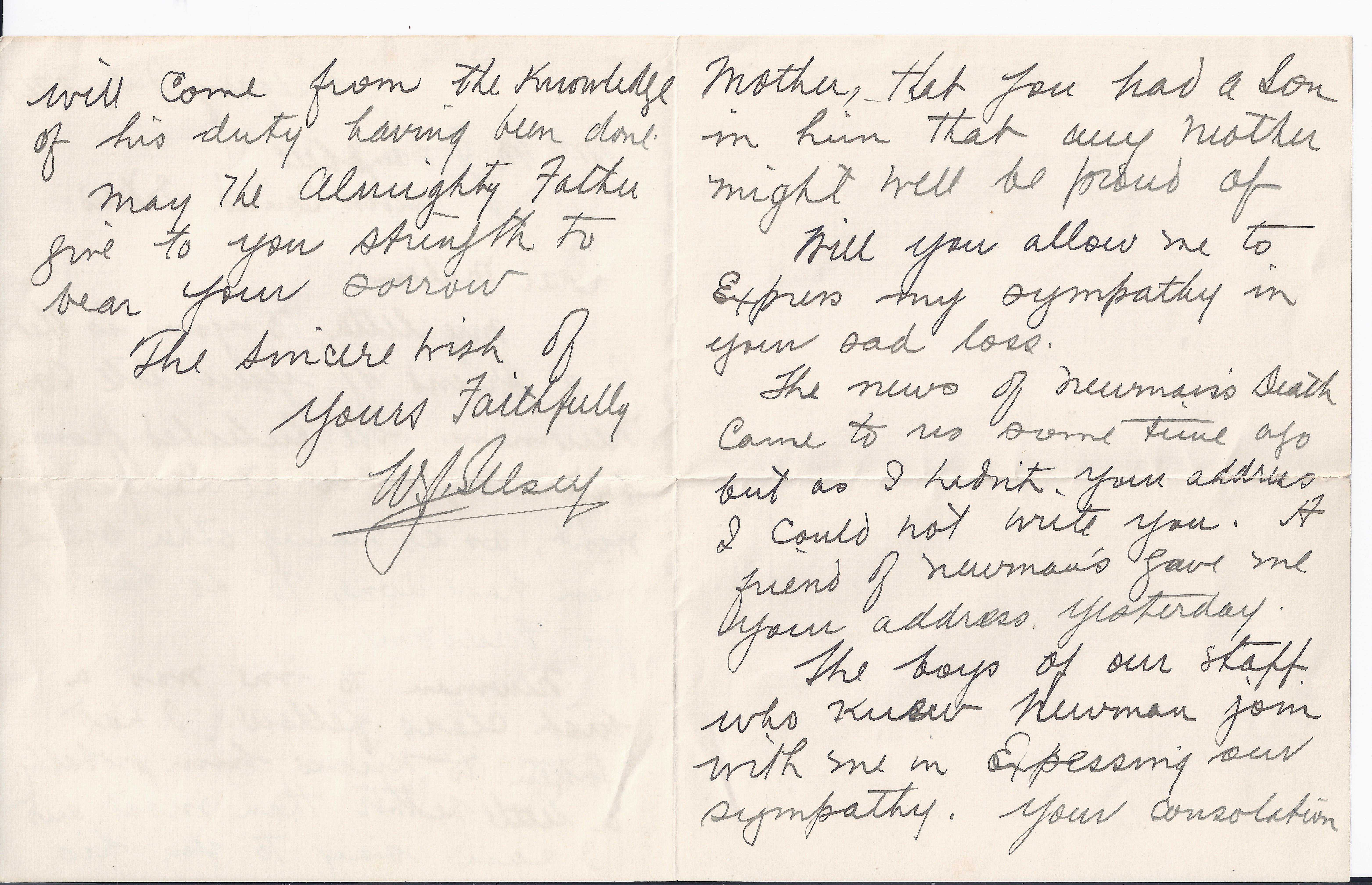 Letter– Letter from military regarding Newman Campbell's death pages 2 and 3.