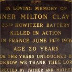 Memorial Plaque– Memorial Plaque for Gunner Milton Clayton.  Located in St. George's on-the-hill (Anglican), 4600 Dundas Street West, Etobicoke, Ontario.