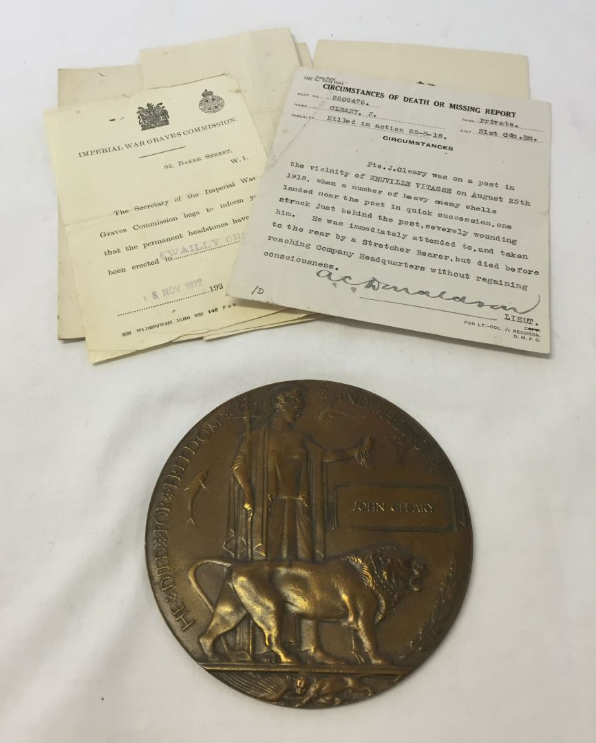 Plaque– Death plaque and supporting documents