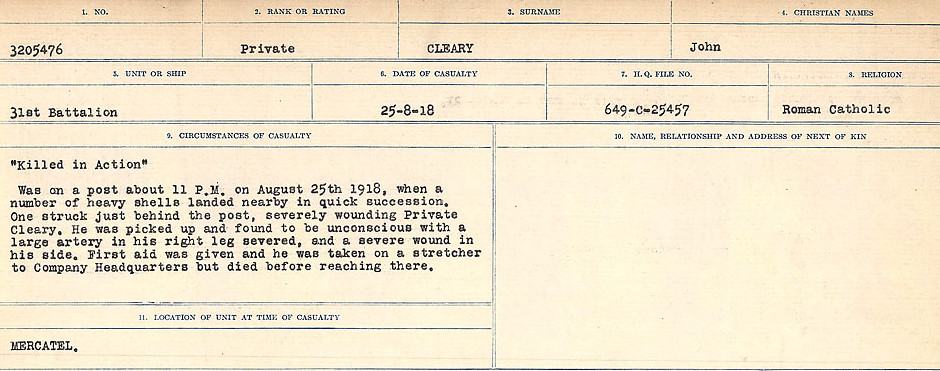 Attestation Papers– Source: Library and Archives Canada.  CIRCUMSTANCES OF DEATH REGISTERS, FIRST WORLD WAR Surnames:  CLEAL TO CONNOLLY.  Microform Sequence 21; Volume Number 31829_B016730. Reference RG150, 1992-93/314, 165.  Page 9 of 1384. Another version/format of the Circumstances of Death Report