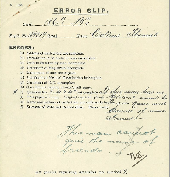 Document– Error slip for the soldier not including relations on his attestation papers.
