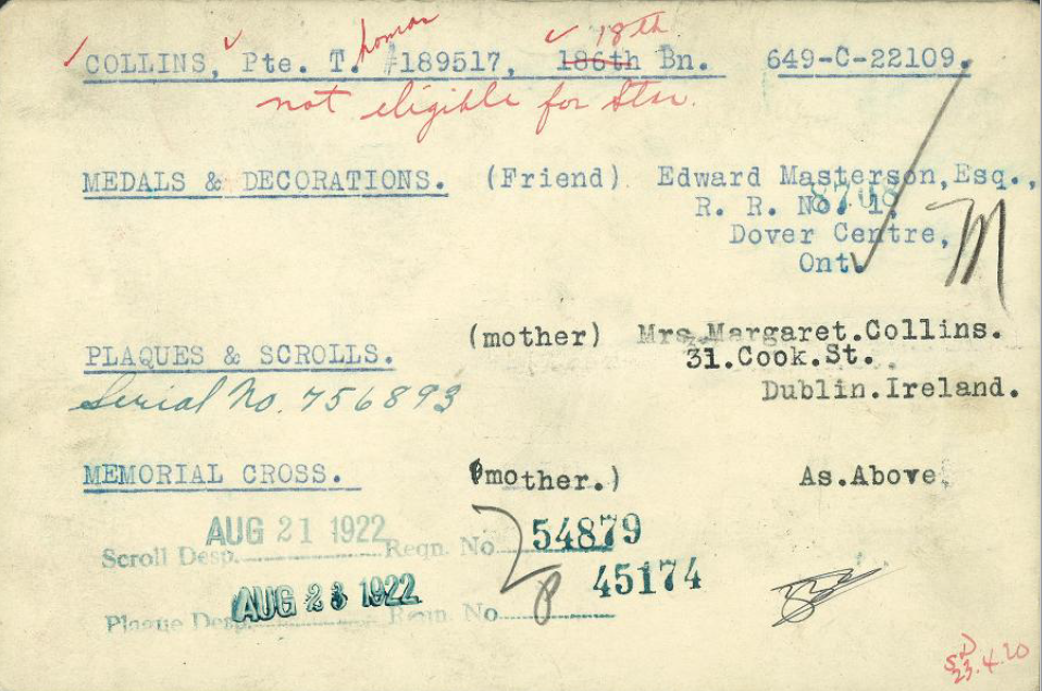 Document– Medals card for Pte. Collins indicating he had next-of-kin.