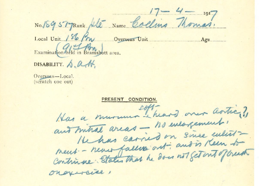Medical Report– Medical report of Pte. Collins indicating a possible heart condition but his willingness to continue service.