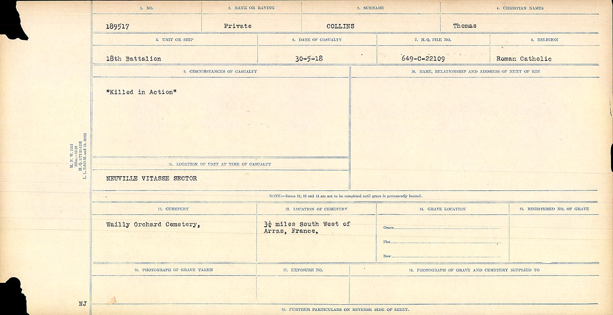 """Circumstances of Death Registers– Circumstances of Death Card: """"Killed in Action""""  Mikan record:46246 Volume Number:31829_B016730 Page:1 Number of pages:1384 Contributed by E.Edwards www.18thbattalioncef.wordpress.com"""