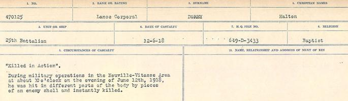 Circumstances of death registers– Source: Library and Archives Canada. CIRCUMSTANCES OF DEATH REGISTERS, FIRST WORLD WAR. Surnames: Don to Drzewiecki. Microform Sequence 29; Volume Number 31829_B016738. Reference RG150, 1992-93/314, 173. Page 269 of 1076