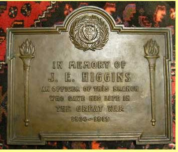 """Memorial– Bank of Nova Scotia In Memory of J.E. Higgins an officer of this branch who gave his life in the Great War 1914-1918 Origin bronze 16.5"""" X 19.75"""" weight 23 Lbs Found Dundas Ontario"""