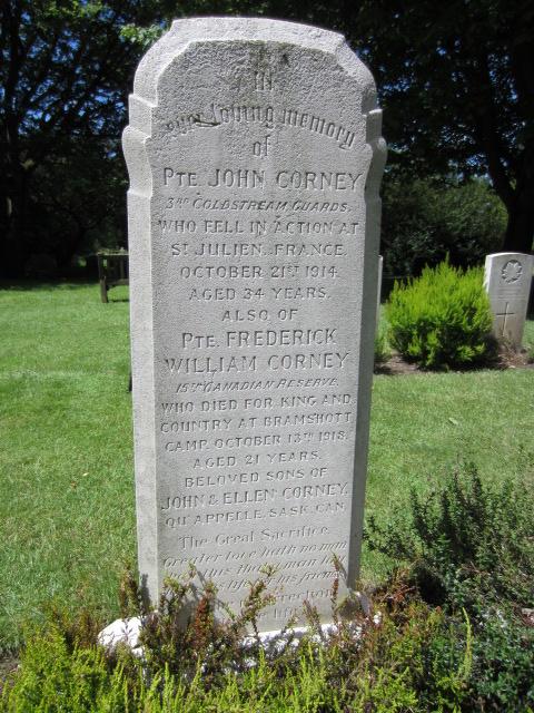Grave Marker– Grave marker at Bramshott (St. Mary) Churchyard in memory of both John Corney and Frederick William Corney; image taken 10 June 2014