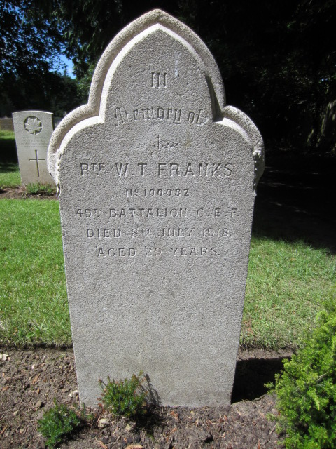 Grave marker– Grave marker at Bramshott (St. Mary) Churchyard; image taken 10 June 2014.