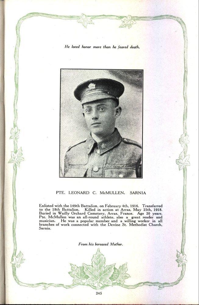 Photo of LEONARD CALVIN MCMULLIN– Source: Regimental Rogue.