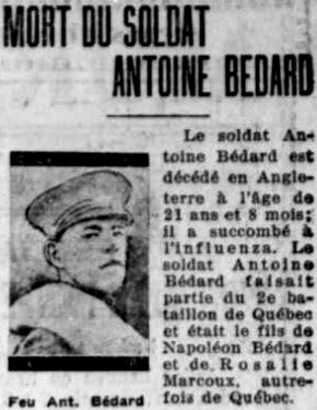 Newspaper clipping– La Presse 23 October 1918