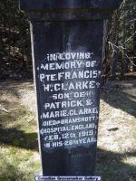 Family Marker– Stone in St. Joseph's Cemetery, Bracebridge, Ontario-- honouring Pte. Clarke.
