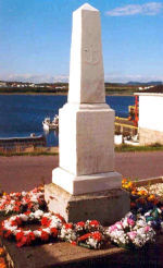 """Memorial– Erected by the people of Arnold's Cove, this marble obelisk memorial on Main Street, Arnold's Cove, NL is dedicated to Private A. Guy, Private G. Rose, Private W. Adams and Private W.H. Peach, the local war dead of the First World War. The memorial was unveiled on 7 August 1921. The site was chosen as it is visible from all parts of the cove. A quote from the Veteran Magazine (September, 1921) states """"this monument will stand the test of time as a fitting reminder of the men who died as well as a grateful tribute from their fellow villagers, who though small in numbers, contributed to the very best of their means."""" Wreaths are still laid at this site for the local Remembrance Day Services.  -------------------------------------------------------------------------------- [side/côté]  ERECTED BY THE PEOLE OF ARNOLD'S COVE TO PERPETUATE THE MEMORY OF THE YOUNG MEN OF  THIS PLACE WHO LOST THEIR LIVES IN THE GREAT WAR 1914-1918  MAY THEY REST IN PEACE   [side/côté]  IN LOVING MEMORY OF PTE. A. GUY, KILLED IN ACTION AT GUEDECOURT OCT. 12, 1916  NOBLY HE FELL WHILE FIGHTING FOR LIBERTY   PTE. G. ROSE, DIED OF WOUNDS RECEIVED AT VIMY RIDGE SEPT. 14, 1918  BRIEF, BRAVE & GLORIOUS WAS HIS YOUNG CAREER  http://www.cmp-cpm.forces.gc.ca/dhh-dhp/nic-inm/sm-rm/mdsr-rdr-eng.asp?PID=2363"""